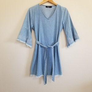 Paper Heart Frayed Hem Tie Waist Denim Dress S